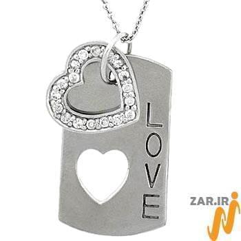 آویز مردانه جواهر با نگین الماس تراش برلیان طرح love : مدل npdm1007