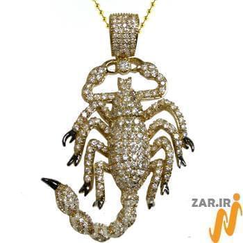 آویز مردانه جواهر با نگین الماس تراش برلیان طرح عقرب: مدل npdm1009