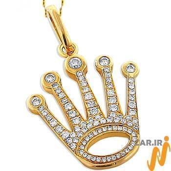 آویز مردانه جواهر با نگین الماس تراش برلیان طرح تاج : مدل npdm1011