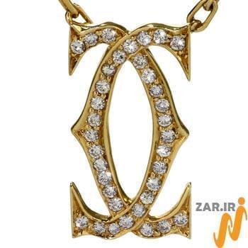 آویز مردانه جواهر با نگین الماس تراش برلیان طرح شنل: مدل npdm1012