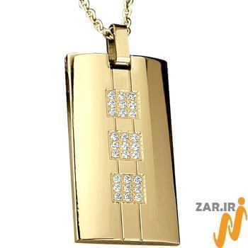 پلاک مردانه جواهر با نگین الماس تراش برلیان: مدل npdm1013