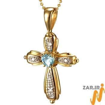 آویز مردانه جواهر با نگین الماس تراش برلیان و توپاز طرح صلیب: مدل npdm1014