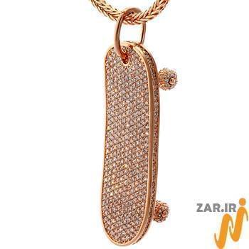 آویز مردانه طلای رزگلد با نگین الماس تراش برلیان : مدل npdm1015