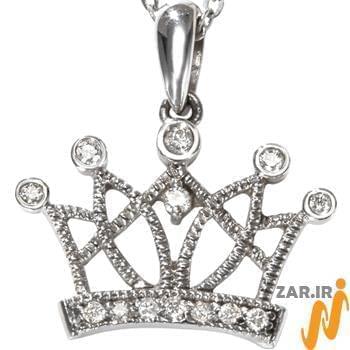 آویز مردانه طلای سفید با نگین الماس تراش برلیان طرح تاج: مدل npdm1016