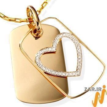 پلاک طلای قلب با نگین الماس تراش برلیان: مدل npdm1017