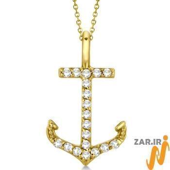 آویز مردانه جواهر با نگین الماس تراش برلیان طرح لنگر: مدل npdm1018