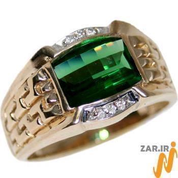 انگشتر جواهر با نگین و الماس تراش برلیان طرح رجال