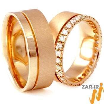 ست حلقه عروسی طلای رزگلد با نگین الماس تراش برلیان مدل: srd1072