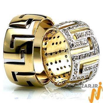 ست حلقه ازدواج جواهر با نگین الماس تراش برلیان طرح ورساچی