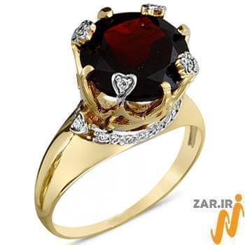 انگشتر جواهر زنانه گارنت و الماس تراش برلیان