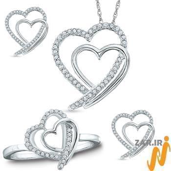 نیم ست آویز، گوشواره و انگشتر طلا با نگین الماس تراش برلیان طرح دو قلب