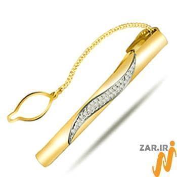 گیره کروات طلا و جواهر با نگین الماس تراش برلیان مدل :cgm1063