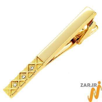 گیره کروات طلا و جواهر با نگین الماس تراش برلیان مدل :cgm1068