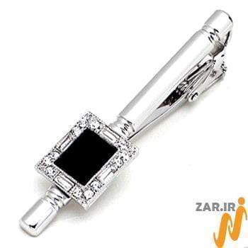 گیره کروات طلا با نگین الماس تراش برلیان و باگت و انیکس مدل :cgm1073