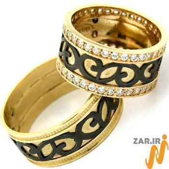 حلقه ست ازدواج طلا با نگین الماس تراش برلیان