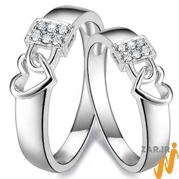 حلقه ازدواج ست طلای سفید طرح قلب