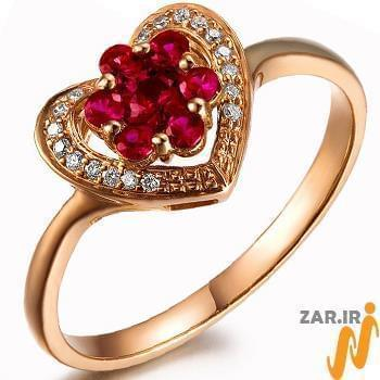 انگشتر قلب طلای زرد زنانه