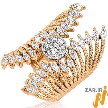 انگشتر طلای سفید,انگشتر زنانه,انگشتر جواهر فلاور